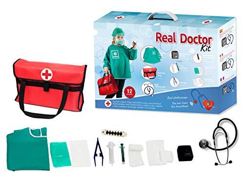 Otuli Arztkoffer 12-teilig Arzt-Kostüm Arztkittel funktionierende Werkzeuge wie Stethoskop Thermometer Arztstempel Spritzen für Kinder ab 5 Jahren Geschenke für Mädchen und Jungen
