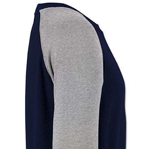 Romantisch - Herz Pfeil - Herren Baseball Pullover Navy Blau/Grau Meliert