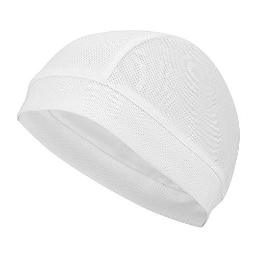 Asixx Skull Cap Unterziehmütze, Helm Cap Helmmütze aus Netzstoff, Winddicht Atmungsaktiv, Weich, Schnell Trocknend für Radfahren(Weiß)