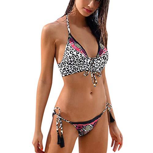 SCHOLIEBEN Bikini Damen Set Push Up Bandeau BH High Waist Leobarden Sexy Bustier Triangle Thong Schöne Retro Sport Bademode Badeanzug (Schöne Thong)