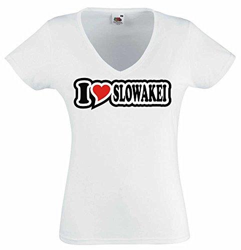 T-Shirt I Love Heart Damen V-Ausschnitt I LOVE SLOWAKEI Weiß