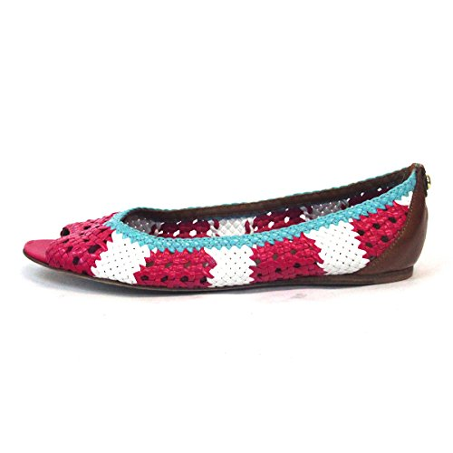 taglia tessuto 3 Peep Juicy piatto in 5 Couture white Pink toe xgwXq00YU