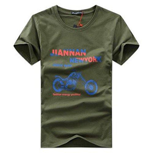 Men's Motorcycle Printed Short Sleeve O-Neck Cotton Tee Shirt Army Green