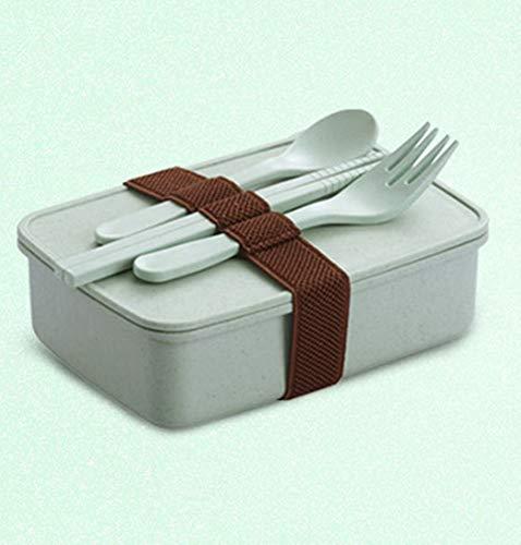 ensmittelbehälter auslaufsicher, mikrowellengeeignet, gesund ohne BPA (einschließlich Gabel, Stäbchen und Löffel),Green ()