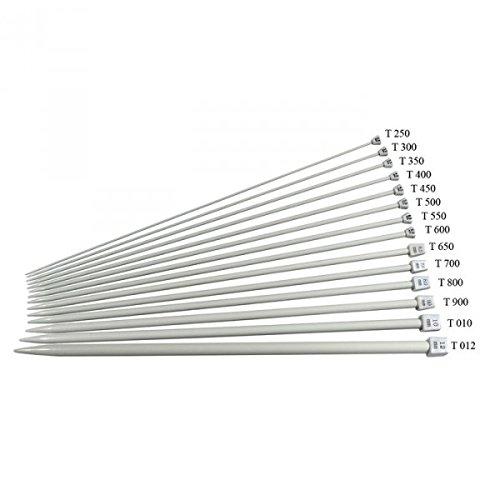 Coppia di ferri per fare la maglia, numero 10, in alluminio, lunghezza: 40 cm