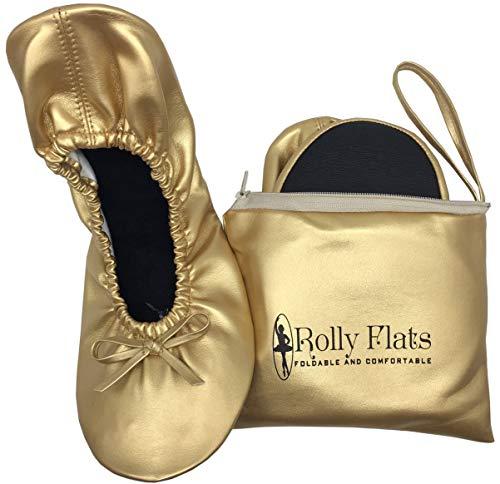 Rolly Flats - Bailarinas Plegables con Bolsa de Transporte para Mujer [RU 7-8 Grande, Oro]