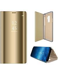 Langhuadd Espejo Compatible Samsung Galaxy S9 S9Plus Funda Translúcido Espejo Standing Cover,Slim Fit Funda Anti-Shock Rasguño Mirror Funda para
