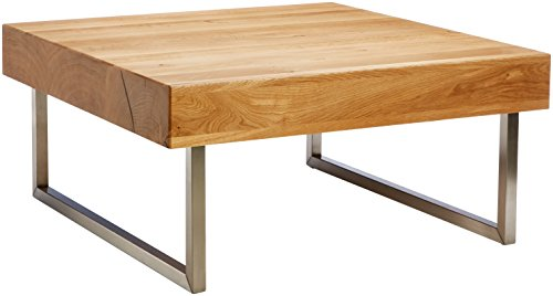 HomeTrends4You 266222 Table basse en chêne massif huilé 75 x 35 x 75 cm