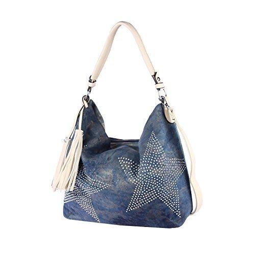 OBC ital-design XXL Damen Stern Tasche Handtasche Canvas Baumwolle Strasssteine Gold-Silber Bowling Beuteltasche Hobo-Bag Henkel Shopper CrossOver (Blau-Beige) (Baumwolle Hobo Handtasche)