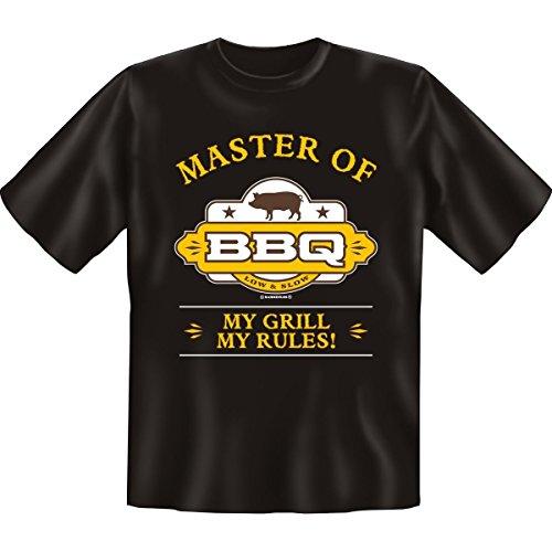 Grillen Sprüche Fun T-Shirt & Spassurkunde in schwarz Master of BBQ Schwarz