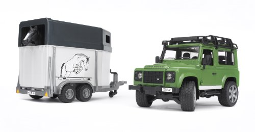 Bruder 02592 - Land Rover Defender mit Pferdeanhänger inkl. 1 Pferd (Baby-spiel-station)