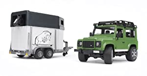 Bruder 2592 Land Rover Defender - Vehículo con remolque para caballos