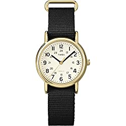 Timex Women's T2P476 Quartz Watch with Beige Dial Analogue Display and Black Nylon Strap