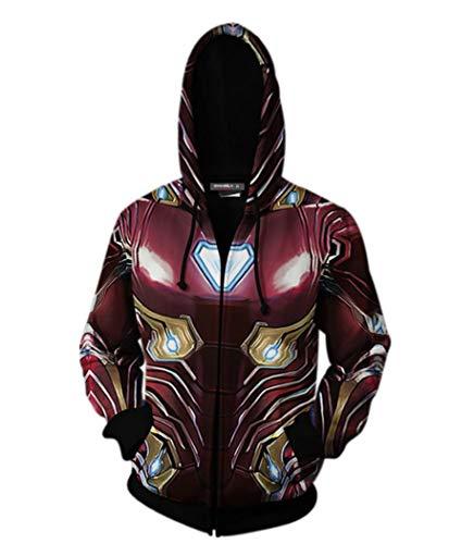 Wellgift Endgame Tony Stark Hoodie Cosplay Kostüm Reißverschluss Langarm 3D Print Jacke Sweatshirt Kleidung Jumper für Herren & Jugendliche