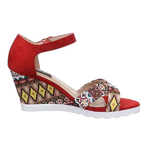 Damen Schuhe, 1410-KL, SANDALETTEN PUMPS KEIL Rot