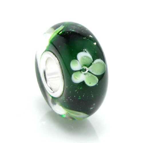 925sterling silver rotonda verde trifoglio fiore perline di vetro per braccialetti europei