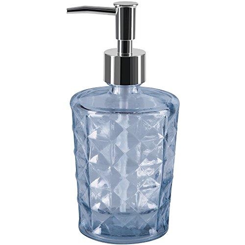 Spirella colección Carla, Dispensador de jabón líquido Ø8,5x18,5 cm (0,4 litros), Vidrio Reciclado, Azul