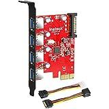 Inateck Carte Contrôleur PCI Express USB 3.0 4 ports PCI-E vers usb 3.0 avec 4pin vers 2x15pin câble et 15pin vers 2x SATA 15pinY-Cable compatible Windows XP/Vista/7/8/10