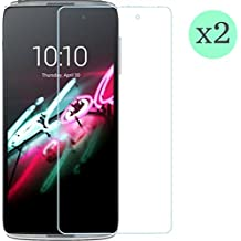 "(Pack de 2 unid) Protector de pantalla Cristal templado para Alcatel One Touch Idol 3 5,5"" Calidad HD, Grosor 0,3mm, Bordes redondeados 2,5D, alta resistencia a golpes 9H. No deja burbujas en la colocación (Incluye instrucciones y soporte en Español)"