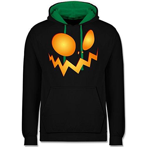 Shirtracer Halloween - Kürbisgesicht groß Pumpkin - L - Schwarz/Grün - JH003 - Kontrast Hoodie