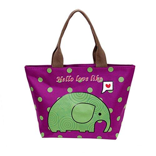 Coloré(TM) Sac Repas Lunch Bag Sac à Déjeuner Isotherme Fourre-tout isolé thermiquement Pique-nique Déjeuner Refroidisseur de sac Cool Bag Bagbag (Violet)