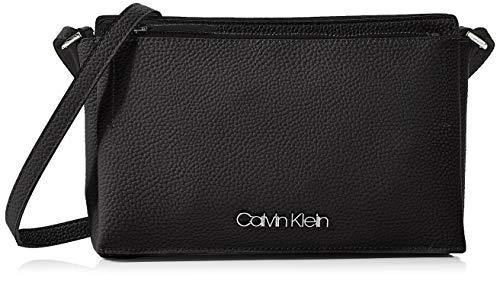 Calvin Klein Damen Sided Ew Crossbody Umhängetasche, Schwarz (Black), 5x16x26 cm