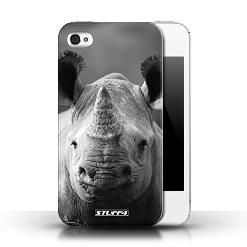 Stuff4 Hülle / Hülle für Apple iPhone 4/4S / Wolf Muster / Zoo-Tiere Kollektion Nashorn