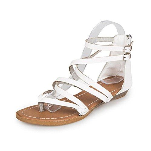 Donna estate scarpe,tacchi donna eleganti,sandali donna bassi,yanhooestate donna donne sandali cinturino caviglia piatto romana scarpe casual perizoma calzature (36=asia 37, bianco&)
