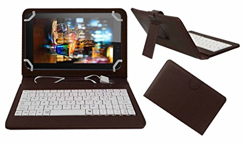 Acm Premium Usb Keyboard Case For Micromax Canvas Tab P701 Tablet Cover Stand With Free Micro Usb Otg - Brown
