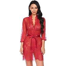 Avidlove Kimono Sexy Mujeres Ropa Interior Pijamas De Noche Y G-String con Cinturón 3