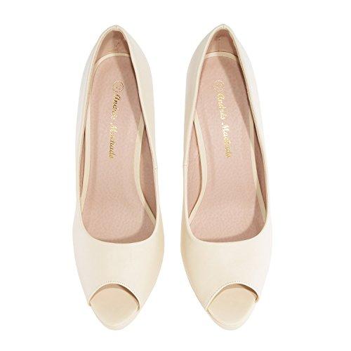 Andres Machado.AM5003.Peep-Toes en Soft.Pour Femmes.Petites et Grandes Pointures de la 32/35-42/45. BEIGE-N