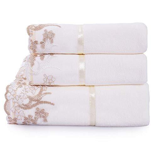 Satz von 3 Baumwolle saugfähigen Weichen Spitzen Blumen Muster Waschlappen Hand Badetücher Set