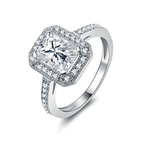 Anyeda 925 Silber Ring Glitzer Damen Quadrat Cz Silber Graviert Ringe 60 (19.1) -