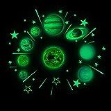 Beisoug Luminosi Pianeti Adesivi murali in PVC Glow In Dark Dieci pianeti Camera da letto Adesivo
