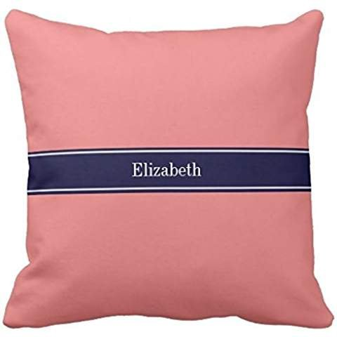 Solid Light Coral, Navy Blue Ribbon Name Monogram pillowcase Pillow shams case Cushion Cover 1616 -