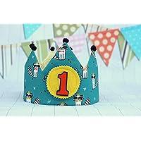 Umkehrbare Geburtstagskrone aus Stoff, ideal für den ersten Jahrestag des Babys.