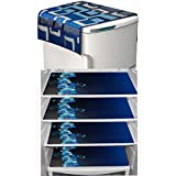 LOOMANTHA miles to go.... Combo Pack of 1 Waterproof Refrigerator Top Cover and 4 Refrigerator Drawer Mats, Multicolor