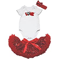 Zebra Love Bianco Rosso Tuta paillettes gonna bambina abbigliamento nb-12m