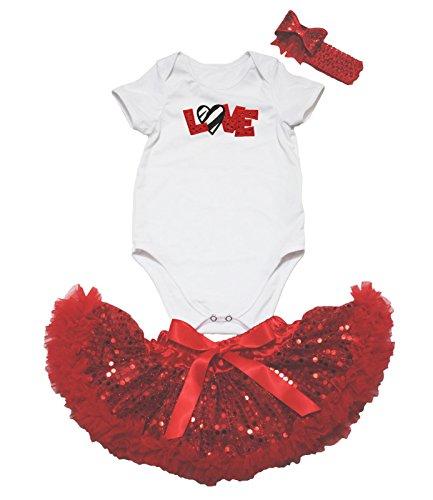 Zebra Love Bianco Rosso Tuta paillettes gonna bambina abbigliamento nb-12m Red 6-12 Mesi