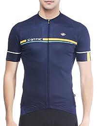 SANTIC Maillot Ciclismo Hombre, Maillot Bicicleta Hombre, Camiseta Ciclismo con Mangas Cortas Azul Marino