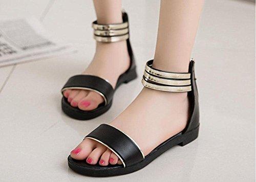 I nuovi sandali di parola scarpe piane selvaggio leopardo Black