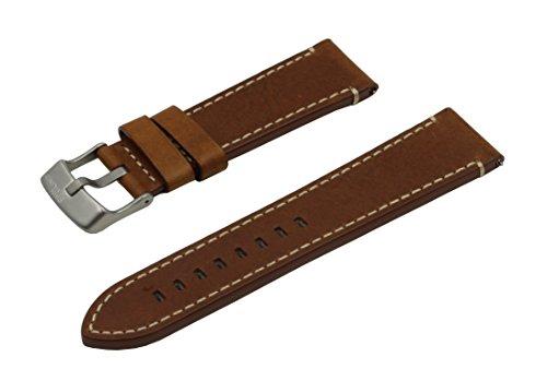 SWISS REIMAGINED hypoallergenes Uhrenarmband Kalbsleder Titan-Schließe - 20mm Cognac (20mm Uhrenarmband Titan)