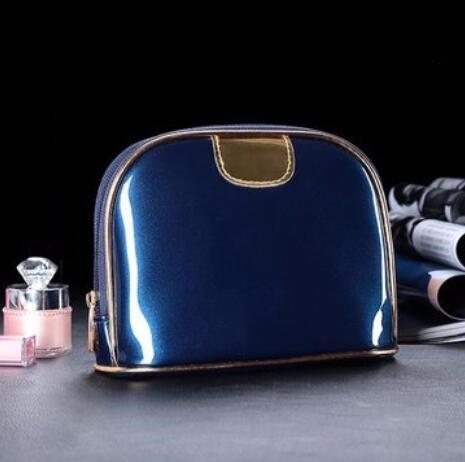 Bluelover Shell Almacenamiento Maquillaje Bolsa Impermeable Viajes Comestic Bolsos Cremallera Teléfono Bolsas PU Cuero - Azul