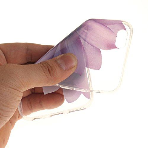 Voguecase® Pour Apple iPhone 6/6S 4,7, TPU avec Absorption de Choc, Etui Silicone Souple Transparent, Légère / Ajustement Parfait Coque Shell Housse Cover pour iPhone 6/6S 4,7 (hibiscus 02)+ Gratuit s pourpre fleur 03