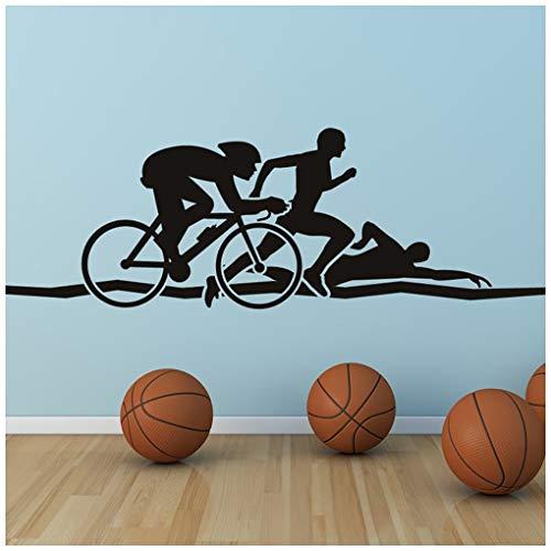 azutura Triathlon Wandtattoo Run Swim Cycle ausführen Wand Sticker Leichtathletik Sport Wohnkultur verfügbar in 5 Größen und 25 Farben Mittel Schwarz
