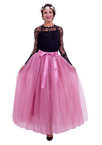 URVIP Damen's Tüllrock Lang 5 Layer Prinzessin Kleider Lang Petticoat Ballettrock Maxi Unterrock Pettiskirt Lang One Size Rosa-03