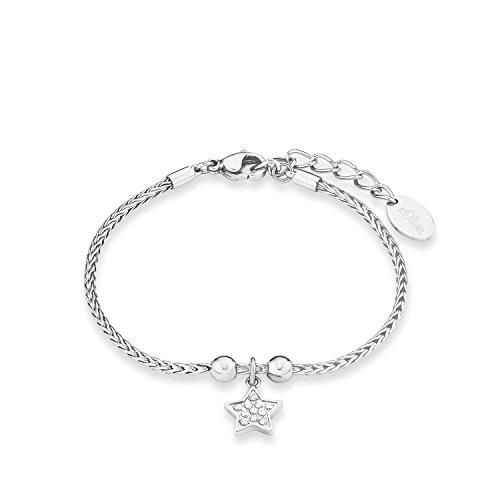 S.Oliver Damen Armband Zopfmuster mit Stern-Anhänger Edelstahl glänzend Zirkonia 17+3 cm weiß -