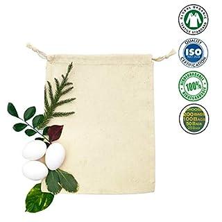 ecogreentextiles 100% Bio-Baumwolle Musselin Doppel-Beutel der - Premium Qualität Menge-100 5x7 Zoll Natürlich