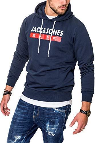 JACK & JONES Herren Hoodie Kapuzenpullover Sweatshirt Pullover Streetwear 4 Elements (X-Large, Total Eclipse)