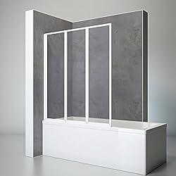 Schulte Duschwand Well, 127x140 cm, 3-teilig faltbar, Kunstglas Tropfen-Dekor, Profilfarbe alpin-weiß, Duschabtrennung für Badewanne